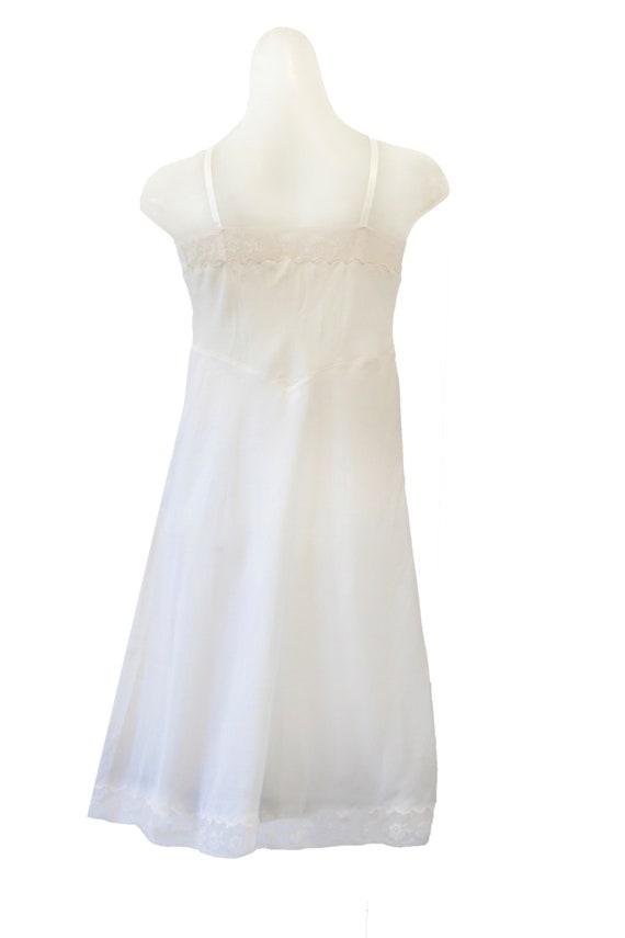 Ivory Vintage Slip Dress With Floral Detail - image 4