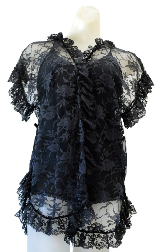 Frederick's Of Hollywood Black Vintage Lace Top
