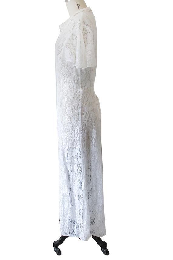 White Lace Vintage Maxi Dress - image 2