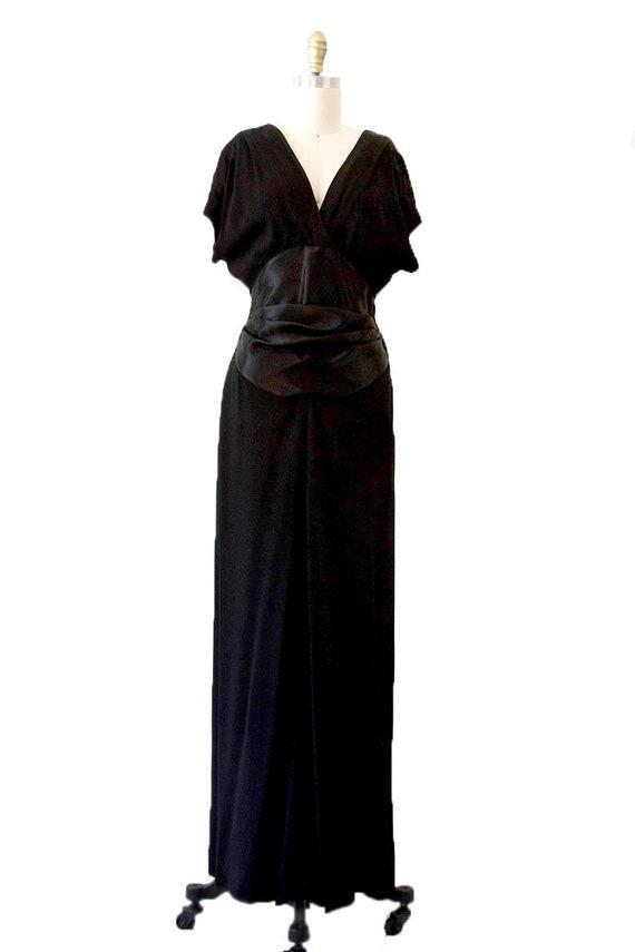 Black Vintage Long Dress With Satin Details