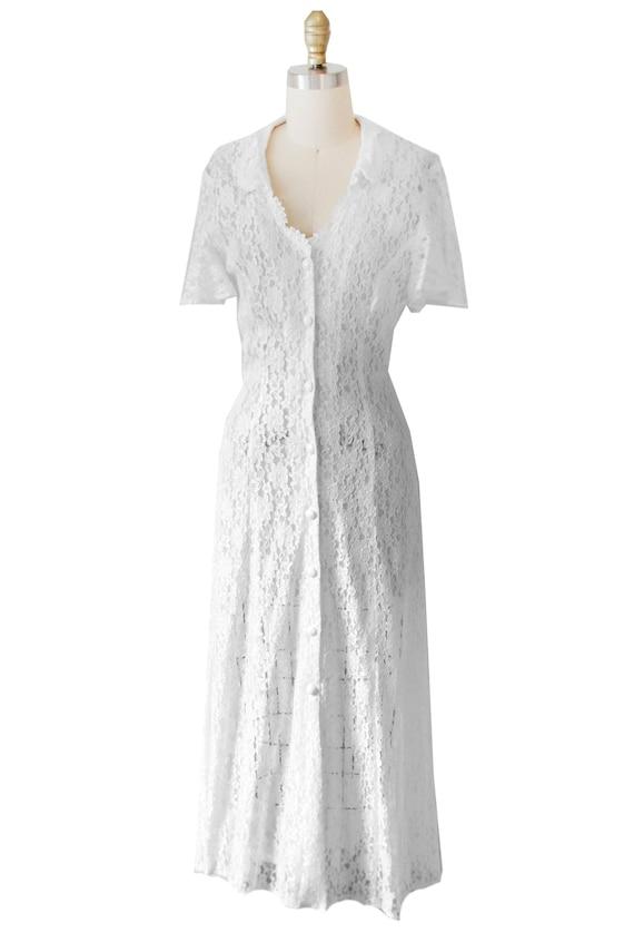 White Lace Vintage Maxi Dress - image 1