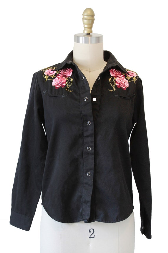 Black Vintage Roper Western Shirt With Embroidery