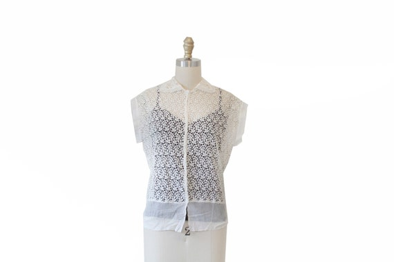 Vintage White Eyelet Lace Sheer Blouse