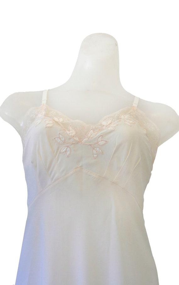 Ivory Vintage Slip Dress With Floral Detail - image 1