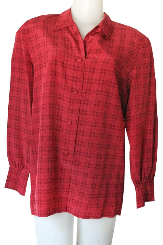 Vintage Red Checkered Plaid Silk Blouse with Shoulder Pads