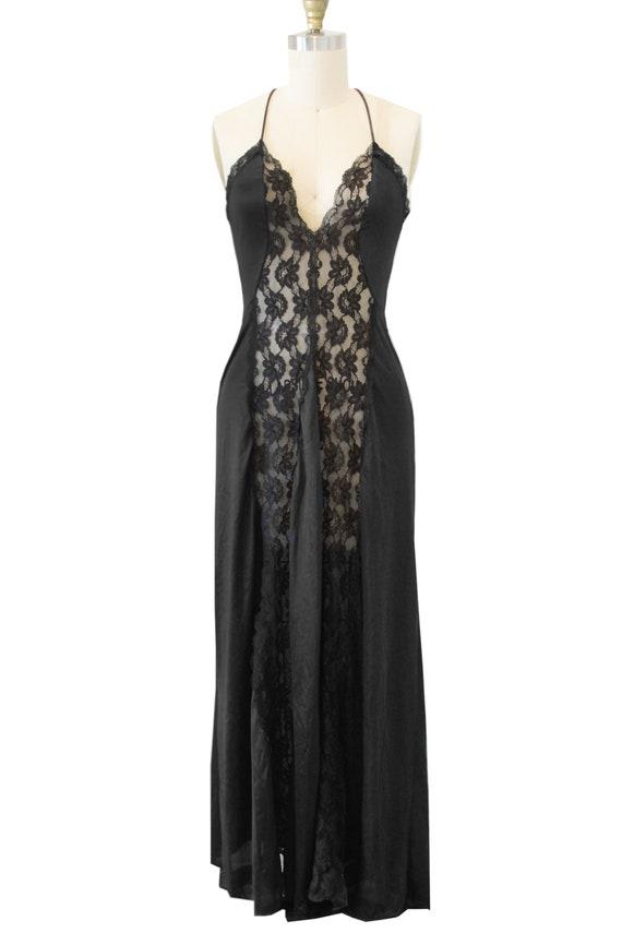 Vintage Black Long Slip With Lace Fabric Details