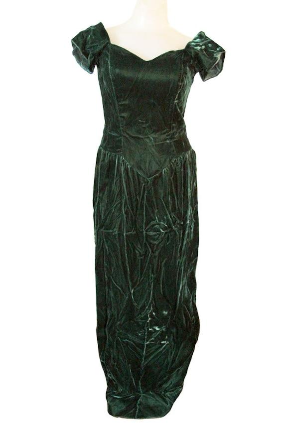 Green Vintage Velvet Maxi Dress