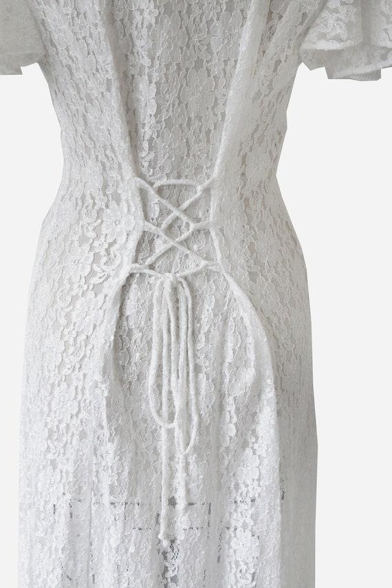 White Lace Vintage Maxi Dress - image 7