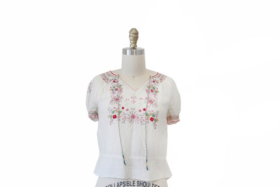 Vintage Peasant Blouse With Embroidery