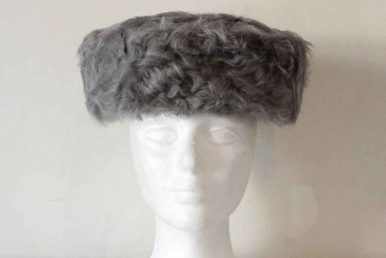 5147a6552 Vintage Grey Russian Rabbit Fur Hat with Ear Flaps