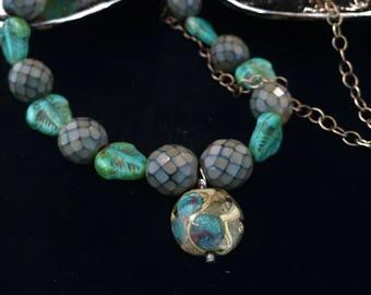 Trilobite necklace, trilobite jewelry, trilobite hand beaded necklace, hand beaded necklace, blue necklace, trilobite, mothers day gift