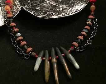 Bohemian summer collection Peach Biwa Stick Pearls and Genuine Large Sea Urchin Spine necklace Sea Hag