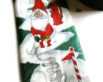 Christmas Tie Vintage Golfing Santa  Silk Hand Made by Gold City