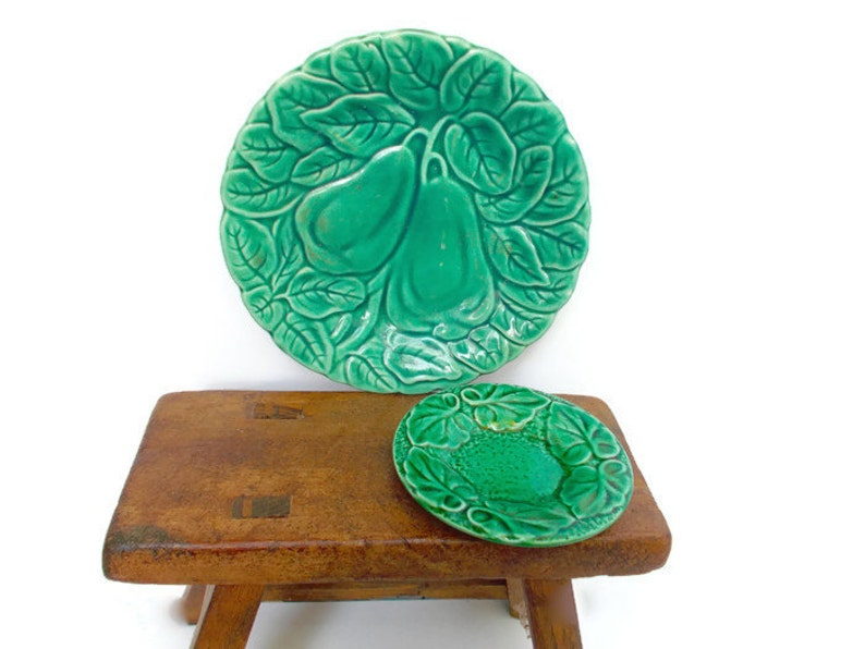 Vintage Majolica Plates Sarreguemines French Leaves Baltimore Pears 1960s