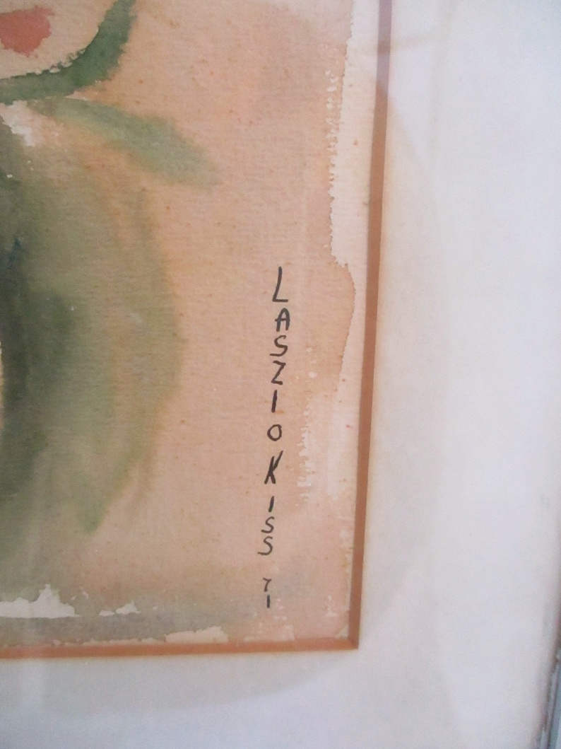 Vintage Watercolor signed by Laszlo Kiss 1971 Framed Cottage Chic Decor