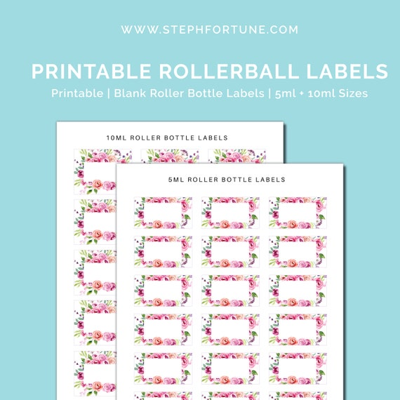 picture regarding Printable Essential Oil Labels called Printable Blank Critical Oil Roller Bottle Labels 5ml Labels 10ml Labels Rollerball Labels - Prompt Down load