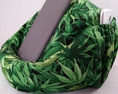 Cannabis Large bean bag chair for tablets green and black