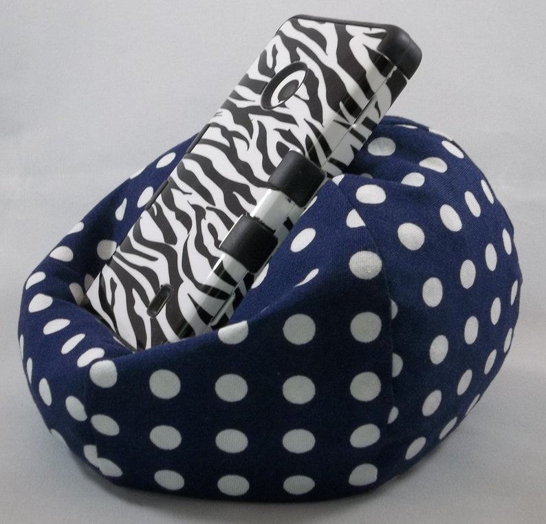 Swell Small Cell Phone Bean Bag Chair Navy Blue With White Dots Short Links Chair Design For Home Short Linksinfo