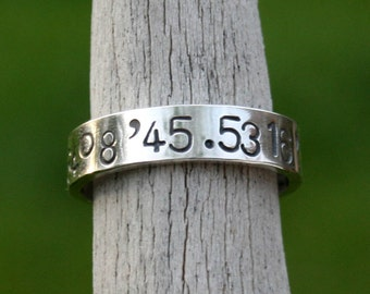 Latitude and Longitude Ring - Personalized Hand Stamped Sterling Silver Band - Custom Coordinates GPS