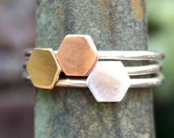 Stacking Ring Set - Three Mixed Metal Octagon - Geometric Rings