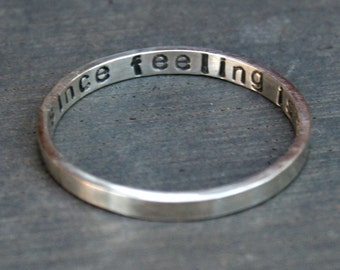 Personalized Hand Stamped Sterling Silver Ring - Thin Custom Band