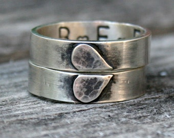 Sterling Silver Heart Ring Set - Personalized Friendship Ring Set - Custom Friendship Rings