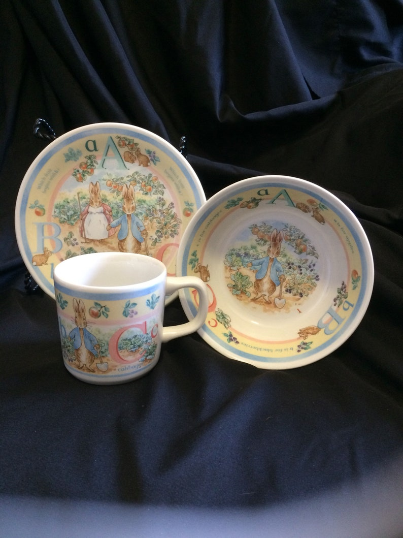 Wedgwood China Peter Rabbit Abc Plate Bowl And Cup Set Etsy