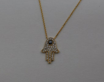 Free Domestic Shipping Sterling Silver Gold Color Hamsa Dark Blue Evil Eye Necklace Gold, Hand, Hamsa, Evil Eye, Lucky, Protector, Gifts