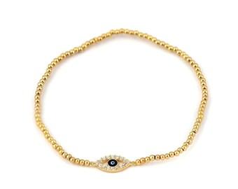 Free Domestic Shipping Sterling Silver Gold Color Evil Eye Stretchy Bracelet Gold, Evil Eye, Blue, CZ, Unique, Modern, Small Eye, Bracelet
