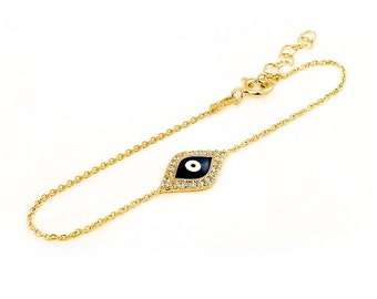 Free Domestic Shipping Sterling Silver Gold Color Dark Blue Evil Eye Bracelet Gold, Evil Eye, Protection, CZ, Cubic Zirconia, Bracelet