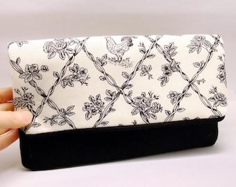Foldover zipper clutch, zipper pouch, wedding purse, evening clutch, bridesmaid gifts set - On the farm (Ref. FZ13)