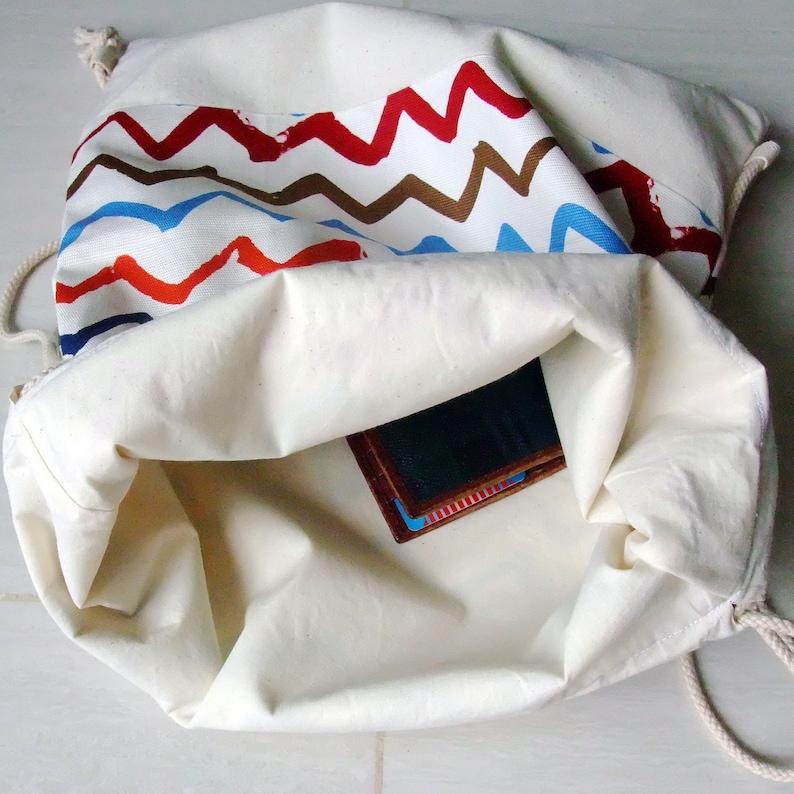 SALE Drawstring backpack Cotton backpack Drawstring bag handmade backpack Gym bag Swim bag ~Robots B70 RS
