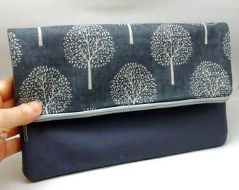 Foldover zipper clutch, zipper pouch, wedding purse, evening clutch, bridesmaid gifts set - Trees (Ref. FZ8)