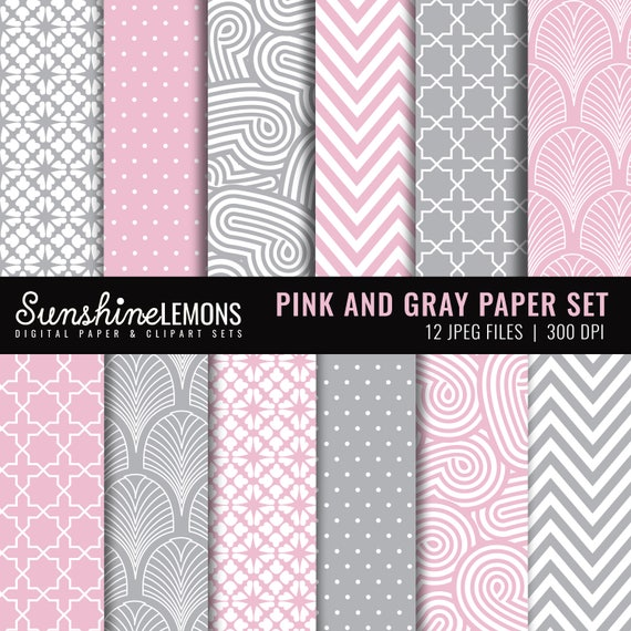 Pink And Gray Digital Scrapbooking Paper Set Commercial Use Etsy