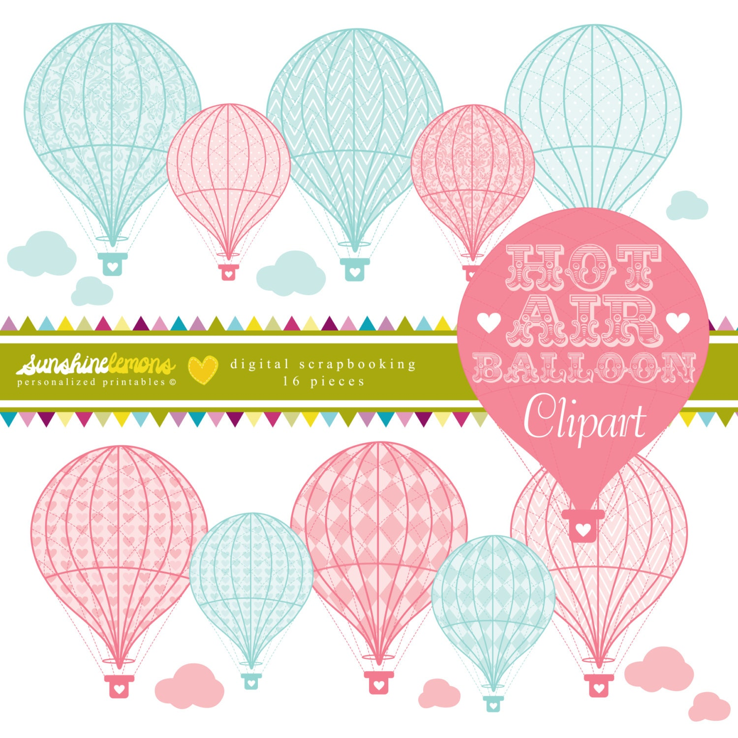 Vintage Hot Air Balloon Clipart Hot Air Balloon Clipart | Etsy