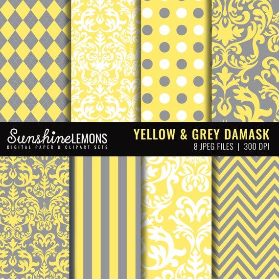 Yellow And Grey Damask Digital Scrapbooking Paper Set Etsy