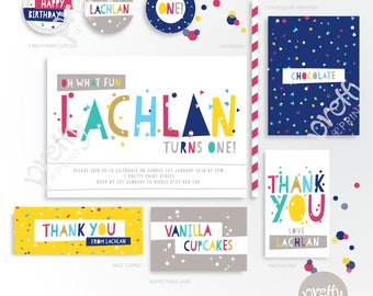 Printable Party Mini Collection | Funky Confett | Personalised Digital PDF