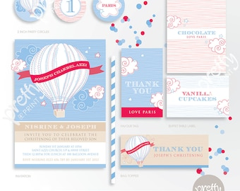 Printable Party Mini Collection | Up & Away | Personalised Digital PDF