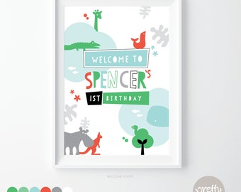 Printable Welcome Sign | Sweetest Zoo | Personalised Digital PDF