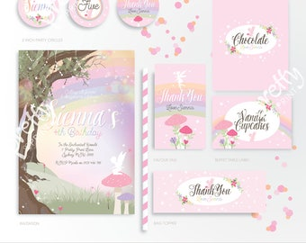 Printable Party Mini Collection | Fairy Forest | Personalised Digital PDF