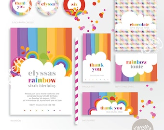 Printable Party Mini Collection | Rainbow Love | Personalised Digital PDF