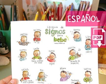 ES - Baby sign language poster (SPANISH PRINTABLE) - Sign with baby communication to print, new mom, parents gift, speak, illustration A4 A3