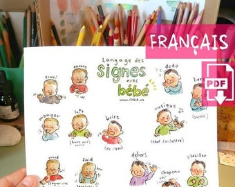 FR - Baby sign language poster (FRECH PRINTABLE) - Sign with baby communication to print, new mom, parents gift, speak, illustration A4 A3