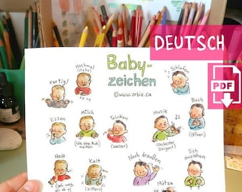 DE - Baby sign language poster (GERMAN PRINTABLE) - Sign with baby communication to print, new mom, parents gift, speak, illustration A4 A3