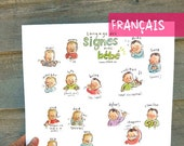 "FR - FRENCH - Baby sign language - POSTER 13""X17"" A3 - Sign with baby and decorate your wall, nice pregnancy gift, communication, new mom"