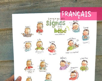 """FR - FRENCH - Baby sign language - POSTER 12""""X18"""" A3 - Sign with baby and decorate your wall, nice pregnancy gift, communication, new mom"""