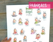 """FR/EN - Baby sign language - French or English - POSTER 13""""X17"""""""