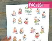 "EN - Baby sign language - English - POSTER 13""X17"" A3 - Sign with baby and decorate your wall, nice pregnancy gift, communication, new mom."