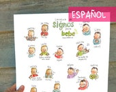 "ES - SPANISH - Baby sign language - POSTER 13""X17"" A3 - Sign with baby and decorate your wall, nice pregnancy gift, communication, new mom"