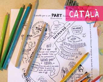 CA - CATALAN - Giving birth coloring sheet - for preparation to physiological childbirth. Printable for pregnant women, pregnancy mom-to-be